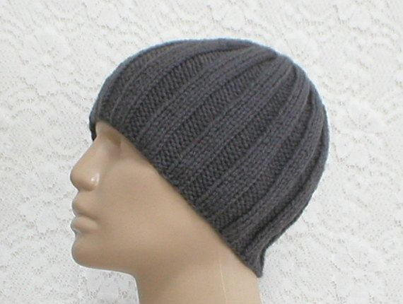 dde5601a0a3 Ribbed beanie hat skull cap chemo cap knit in granite charcoal grey ideal  lightweight cap for sports or year round wear!