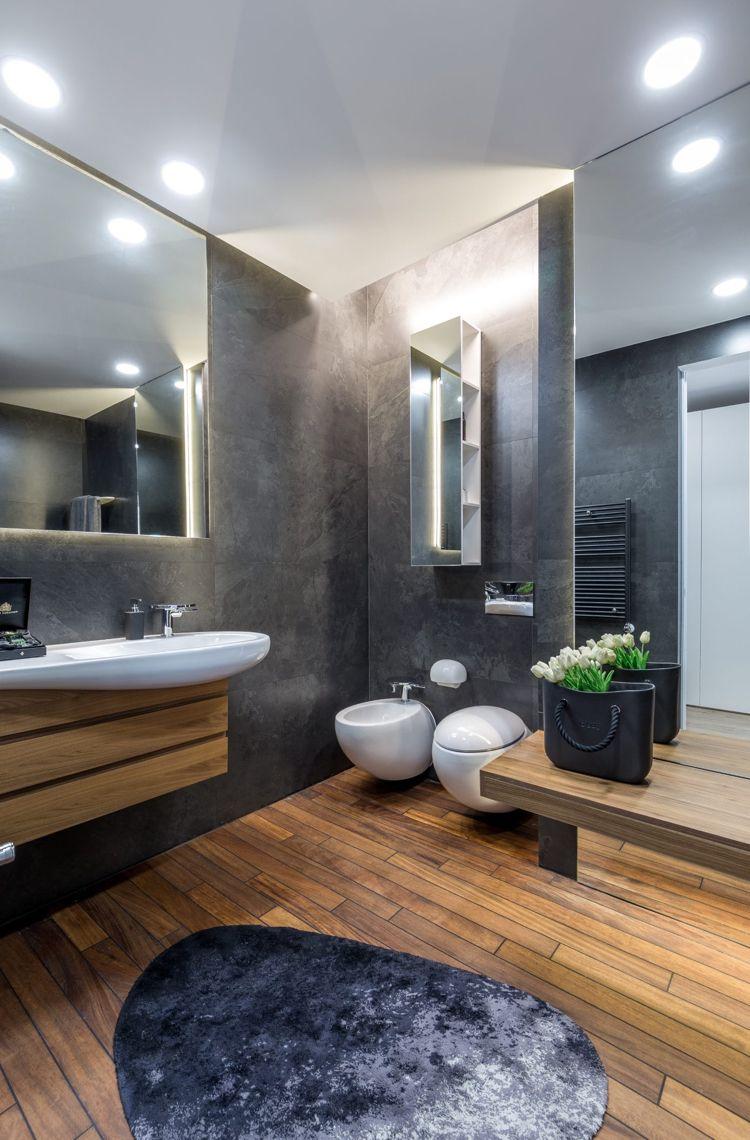 Graue Einrichtung Badezimmer Anthrazit Holzboden Innendesign Design Interior Badezimmer Anthrazit Wohnung Badezimmer Dekoration Luxusbadezimmer