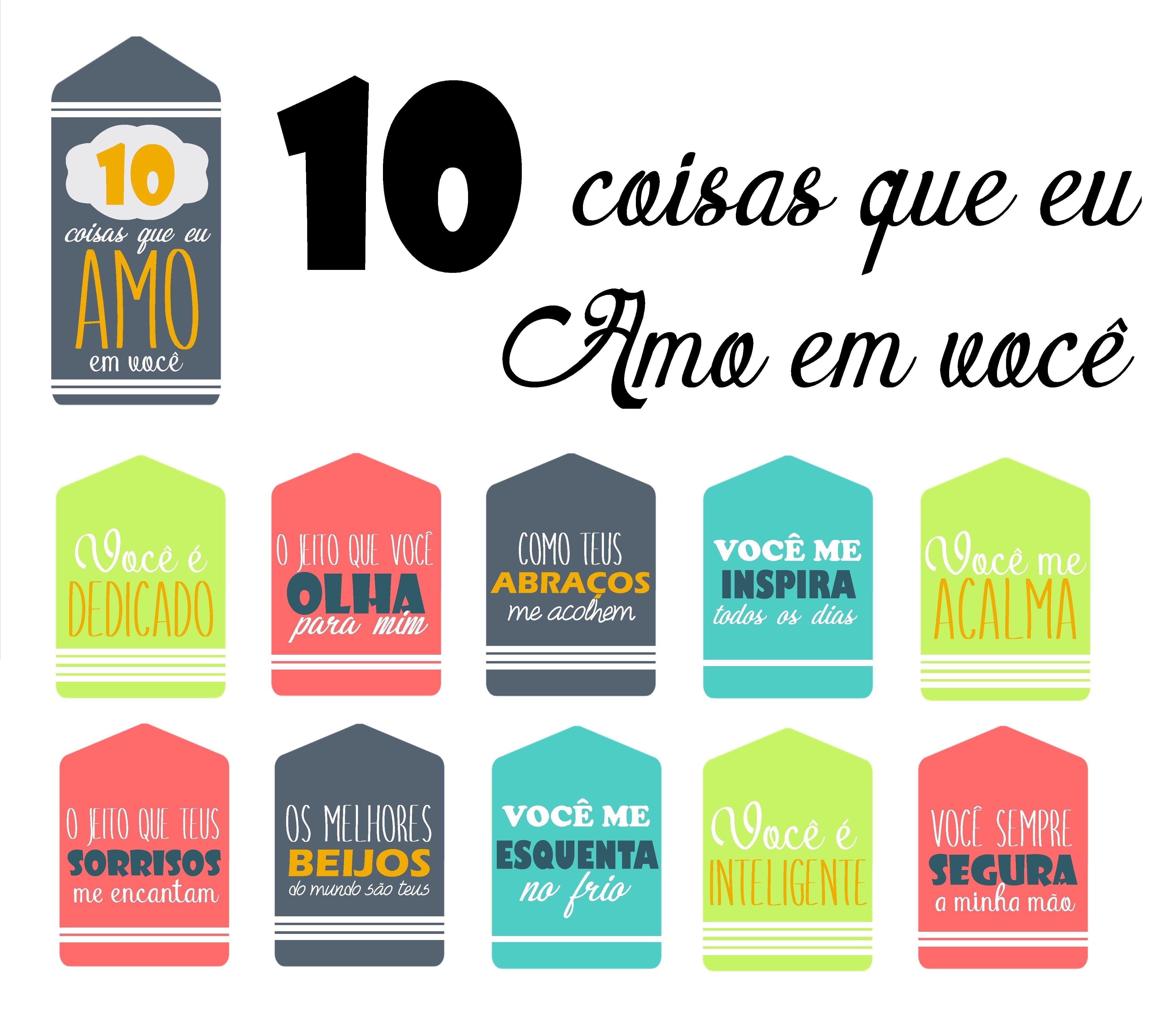 10 Coisas Que Eu Amo Em Voce Dia Dos Namorados Ideias Diy Dia