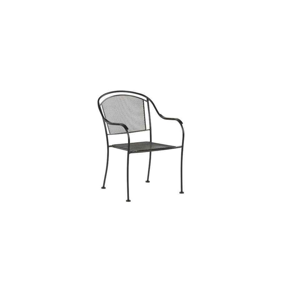 Shop garden treasures davenport black mesh seat wrought iron stackable patio dining chair at lowes com