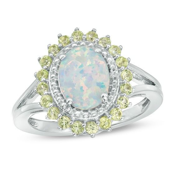833edc8c4 Oval Lab-Created Opal, Peridot and White Sapphire Sunburst Frame Ring in Sterling  Silver