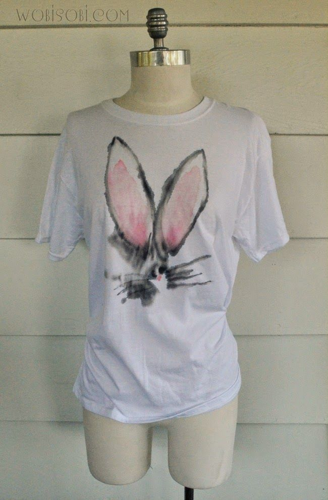 Watercolor Bunny Shirt Diy Diy Shirt T Shirt Diy Diy Clothes
