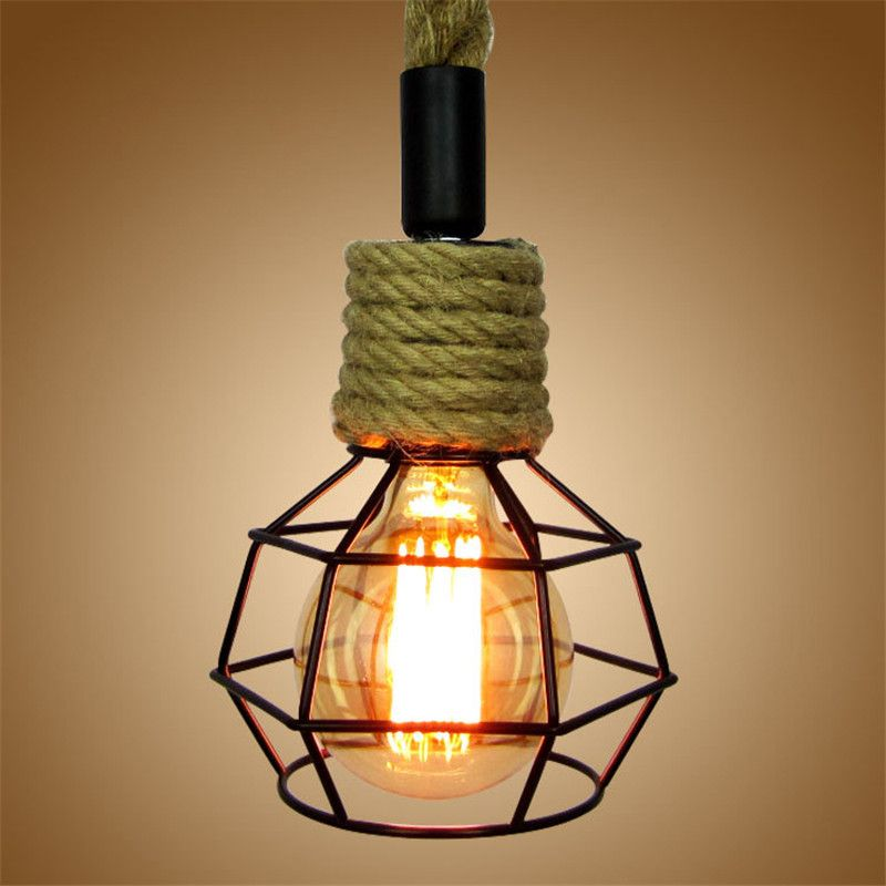 Rope Lamp European Retro Hanging Home Indoor Lighting American Restaurant Cafes Pub Bar Pendant Lights Fixture Affiliate