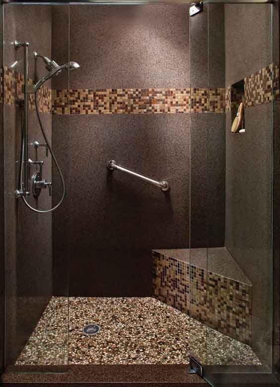 Ba o con piedras azulejos para ba os peque os - Azulejos mosaicos para banos ...