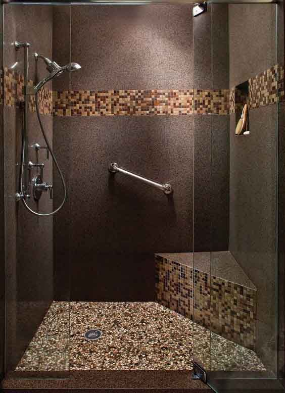 Ba o con piedras azulejos para ba os peque os for Ceramicas para banos modernos pequenos