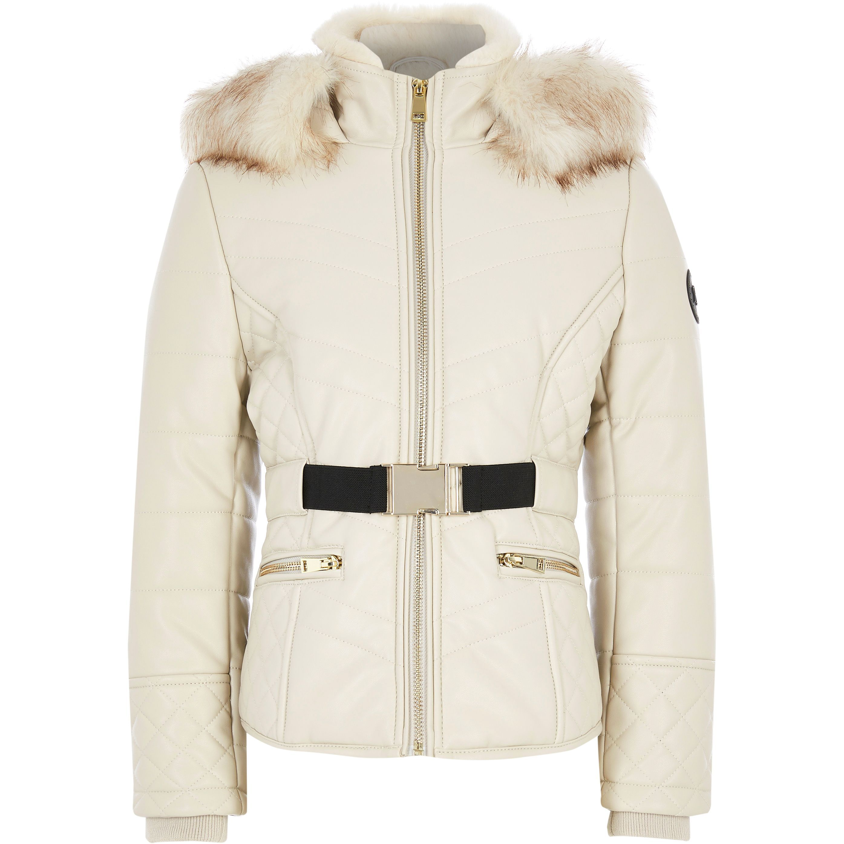 River Island Girls Beige faux leather fitted padded jacket