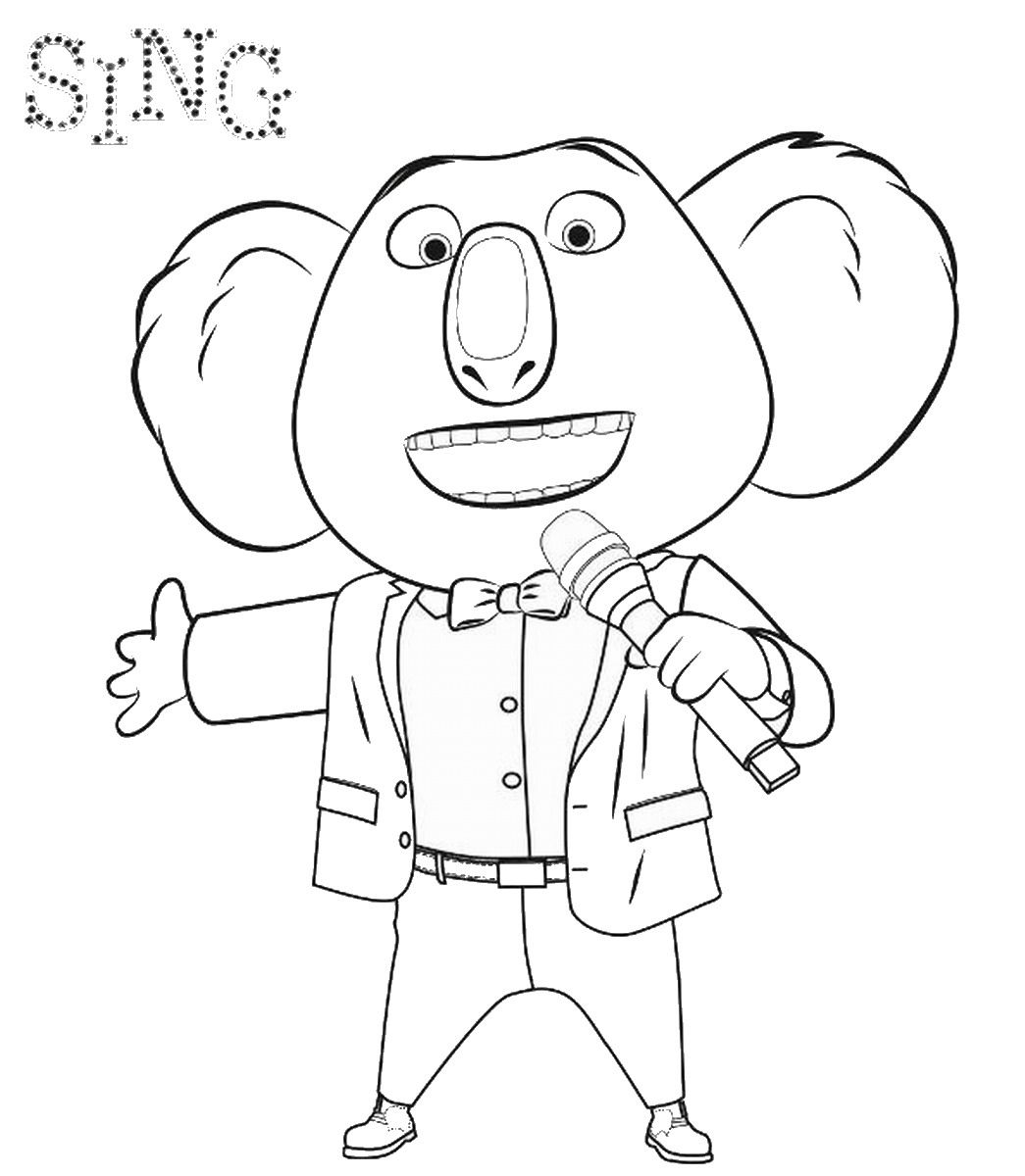 Sing movie coloring pages music theme birthday party for Sing movie coloring pages