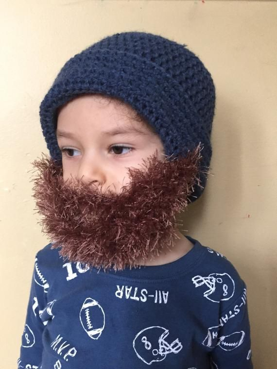 Handmade Crochet Beard hat, beard beanie. Petrol blue hat with light brown, coca, light taupe beard, #crochetedbeards