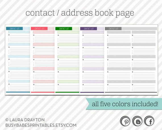 Contact List Printable - Address Book Page - INSTANT DOWNLOAD - printable contact list