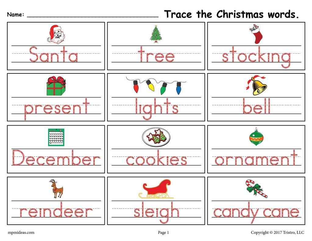 Printable Christmas Words Handwriting Amp Tracing Worksheet