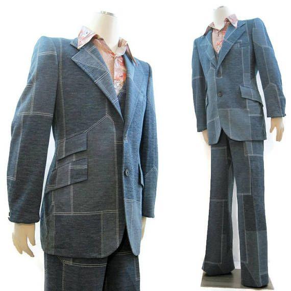 vintage 70s leisure suit men 39 s denim look polyester knit. Black Bedroom Furniture Sets. Home Design Ideas