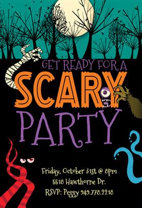 Scary Party Halloween Party Invitation Template Free Greetings Island Halloween Invitation Card Free Halloween Party Invitations Halloween Party Invitations