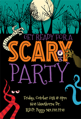 Scary Party Halloween Party Invitation Template Free Greetings Island Halloween Invitations Halloween Invitation Card Halloween Party Invitations
