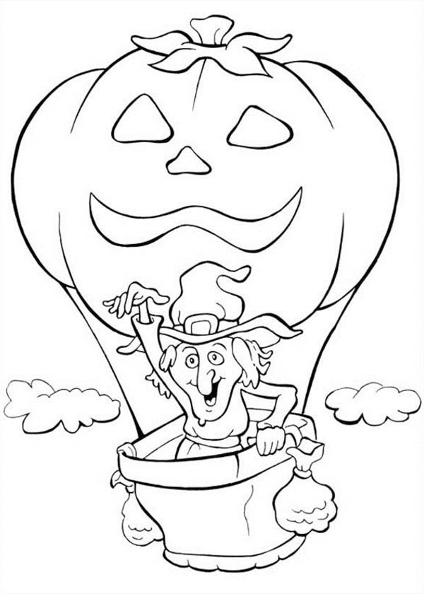 Witch Flying With Pumpkins Balloon Coloring Page Kids Play Color Halloween Coloring Pumpkin Coloring Pages Halloween Coloring Pages