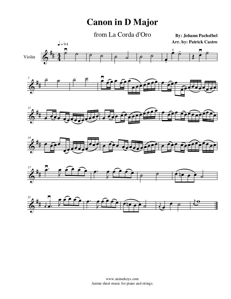 La Corda D Oro Canon In D Major For Violin With Images Violin