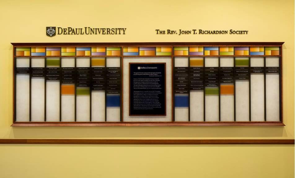 DePaul University Donor wall Fabricated with a beautiful custom ...