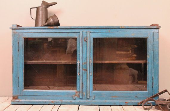 Vintage Reclaimed Wood Bright Blue Distressed Hanging Wall Curio ...