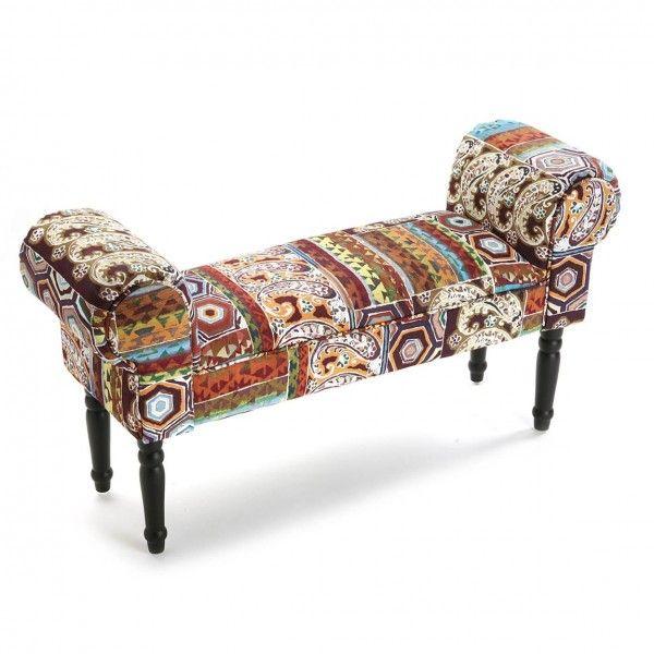 Taburete pie cama tapizado patchwork. Taburete pie de cama tapizado ...