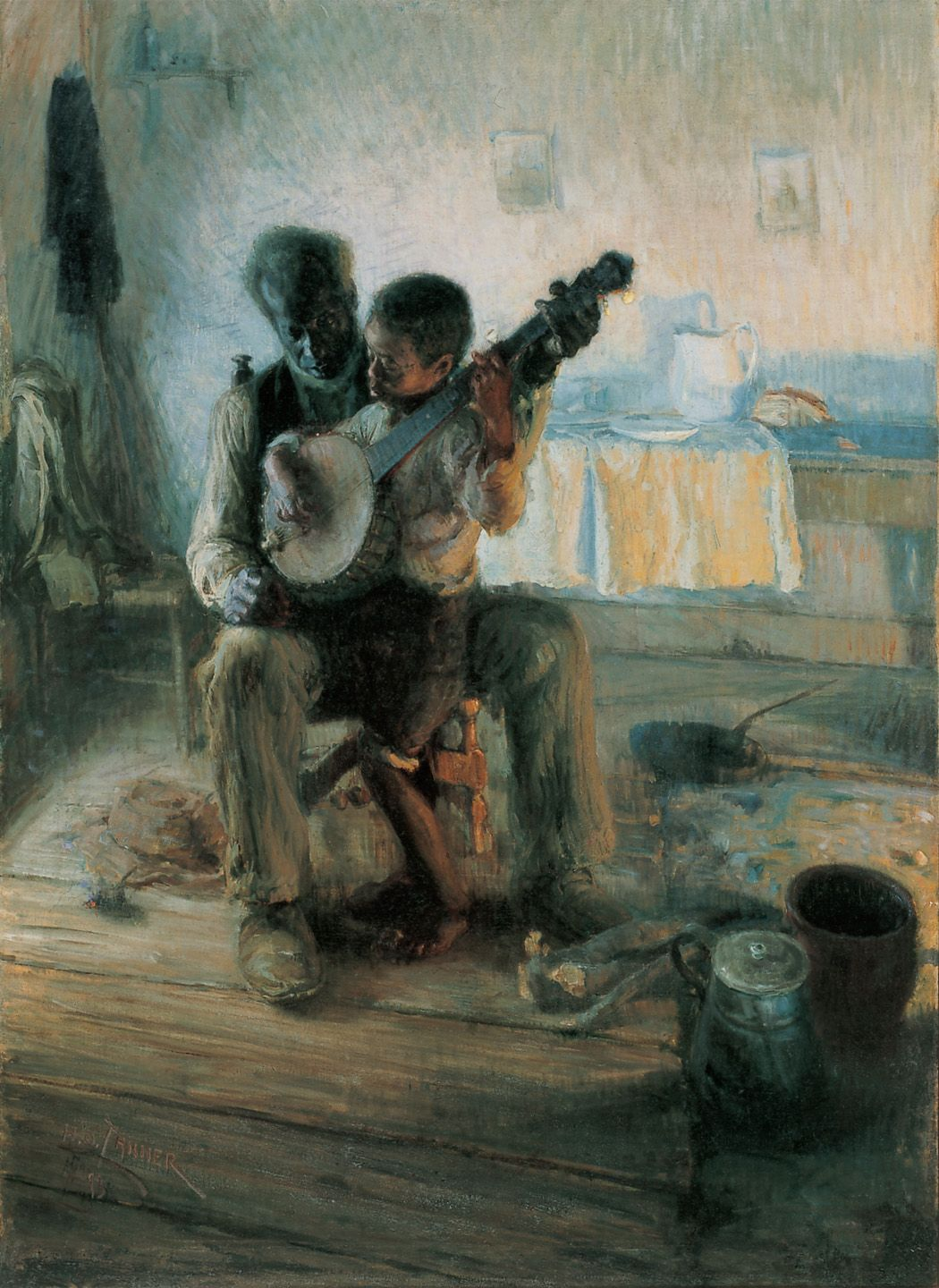 """3.161 Henry Ossawa Tanner, """"The Banjo Lesson"""", 1893. Oil on canvas, 48 × 35½"""". (American)"""