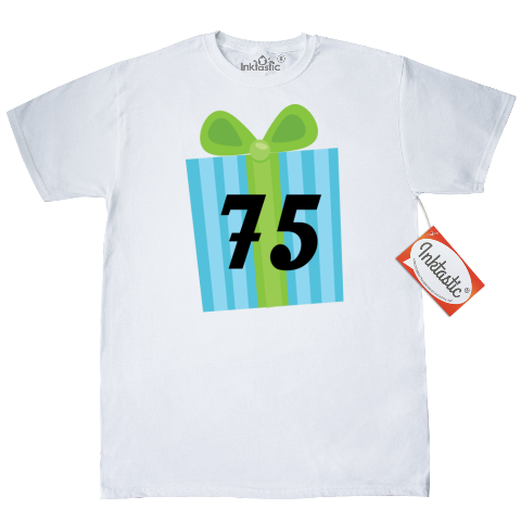 c87f64a9 75th Birthday T Shirt Has Colorful Present Gift Box Design Customize With A  Name As You