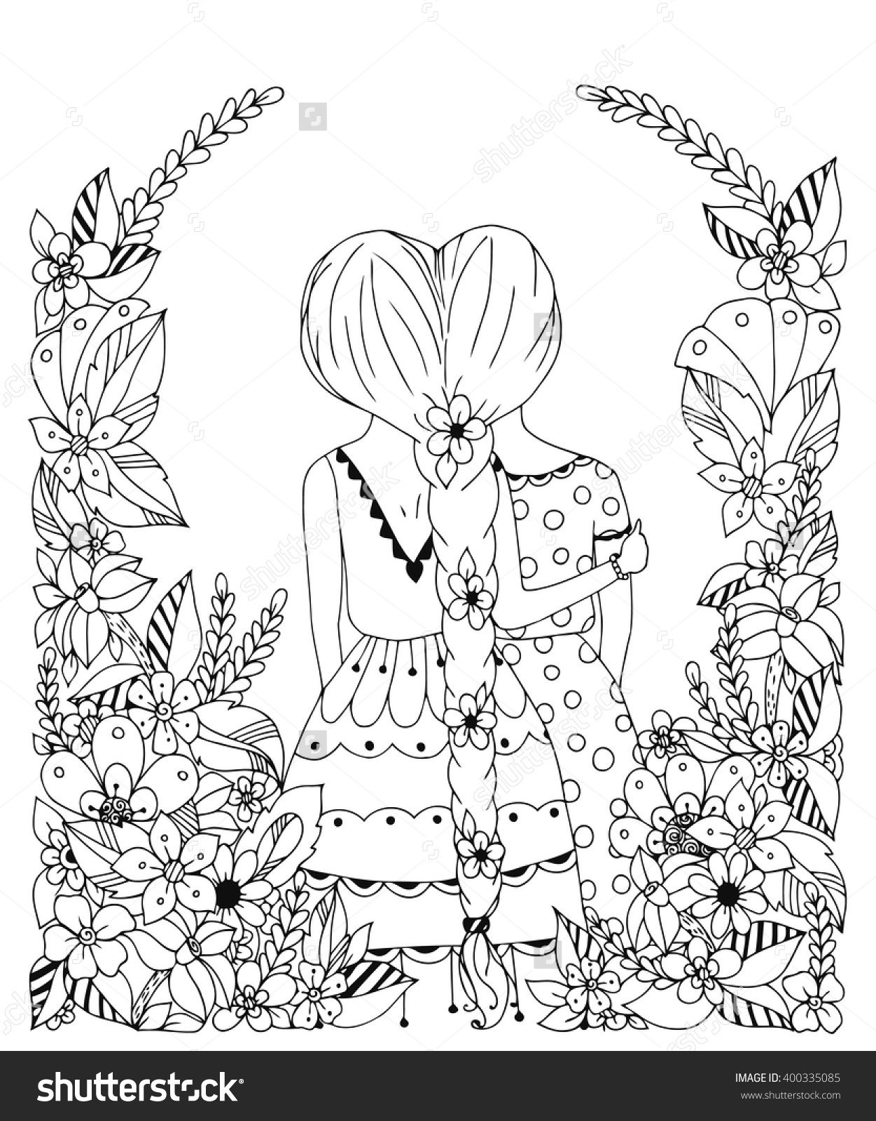 Vector Illustration Zentangl Girl Friend In A Flower Frame Doodle Spit Back Hugs Friendship Coloring Book For Adult Anti Stress Black And White