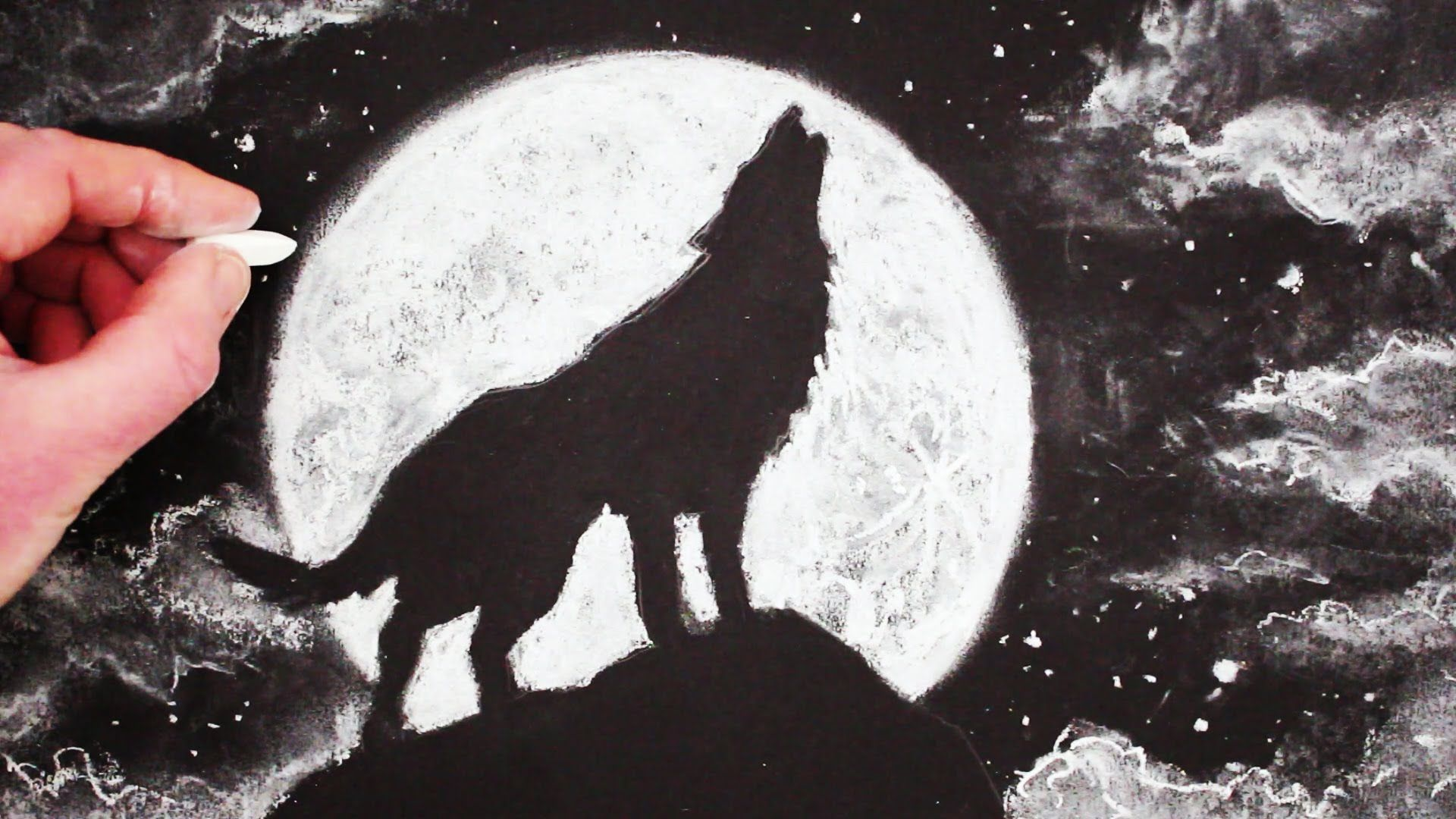 How To Draw A Halloween Wolf Howling At The Moon Simple How To Draw Halloween Idea Art Tutorial From Circ How To Draw A Wolf Moon Drawing Wolf Howling At Moon
