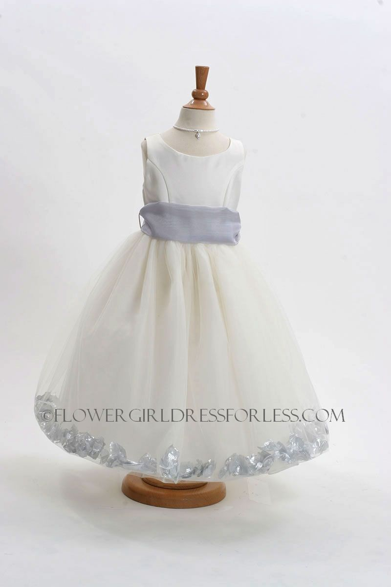 7554efae623 Flower Girl Dress Style 152-Choice of White or Ivory Dress with Silver Sash  and Petals  59.99