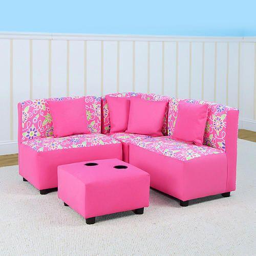 Kangaroo Kids Sectional Sofa Set Daisy Doodle Pink Kangaroo
