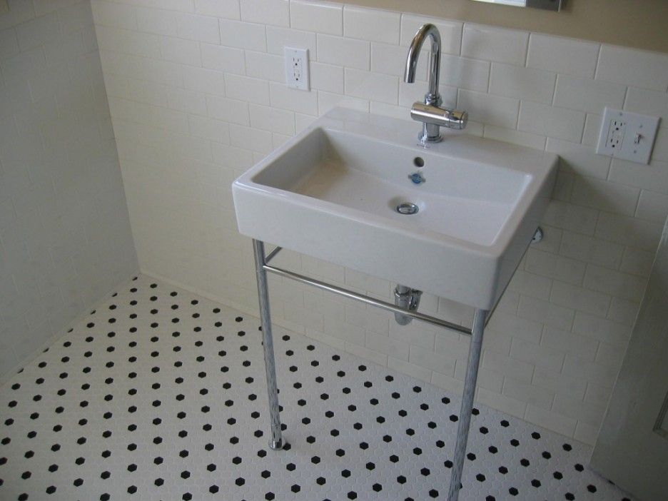 Affordable Subway Tile Wainscoting Bathroom With Rectangular White Single  Sink And Stainless Curved Faucet On Tile Floor In Polka Dot Pattern For  Small ...