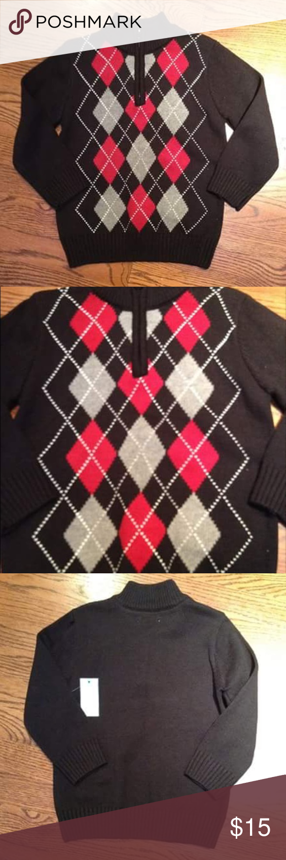 Toughskins by Sears Black Red Argyle Sweater Brand new with tags attached. Size 4T. Zipper pullover. Toughskins Shirts & Tops Sweaters