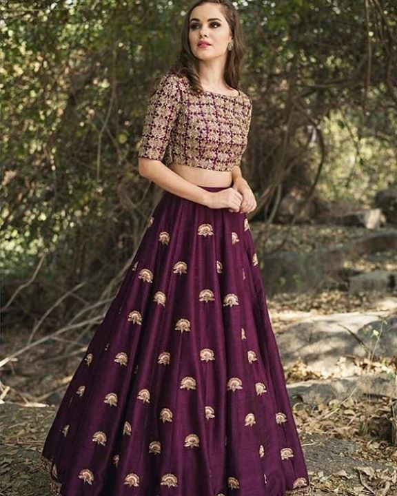 991987a3751a2 Wine   Gold high waist skirt with a crop top. Price - INR 22800 Shipping