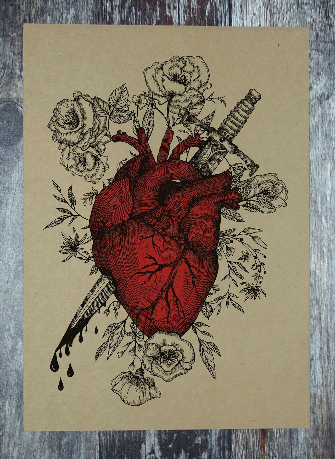 Bleeding Heart gothichome Anatomical heart drawing