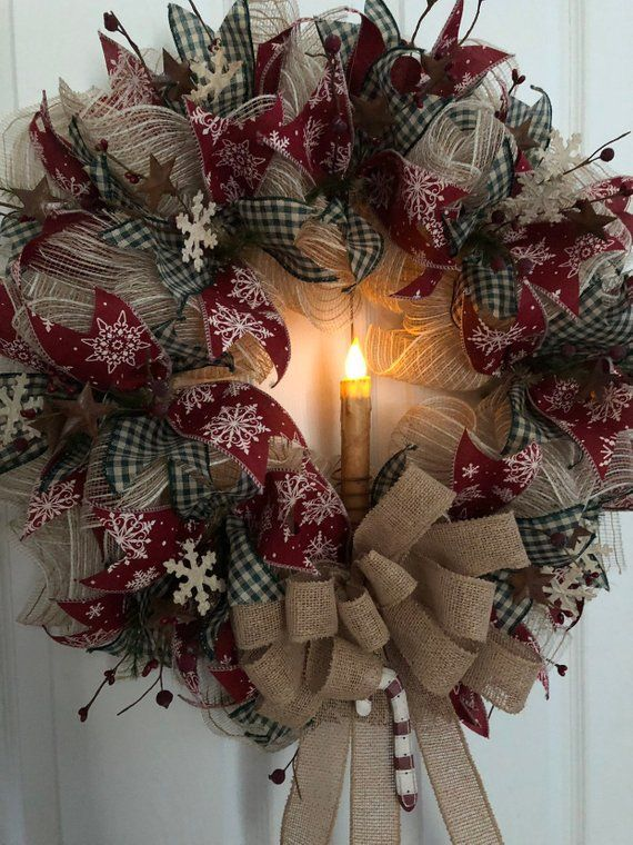 Rustic Christmas Wreath, Primitive Wreath, Farmhouse Wreath, Burlap Deco Mesh Wreath, Primitive Christmas Wreath, Farmhouse Decor