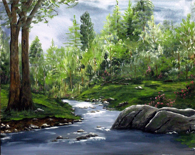 Acrylic hand painted landscape, landscape painting, mountain ...