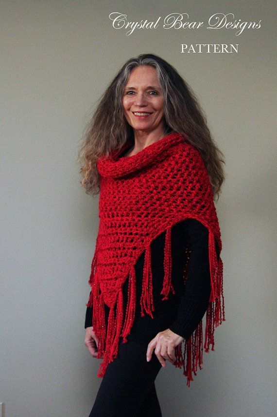Hooded Cowl Crochet PATTERN / Hooded Scarf Poncho / Beaded Fringe ...