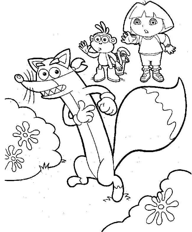 Dora And Boots With Swiper Coloring | dora coloring pages | Pinterest