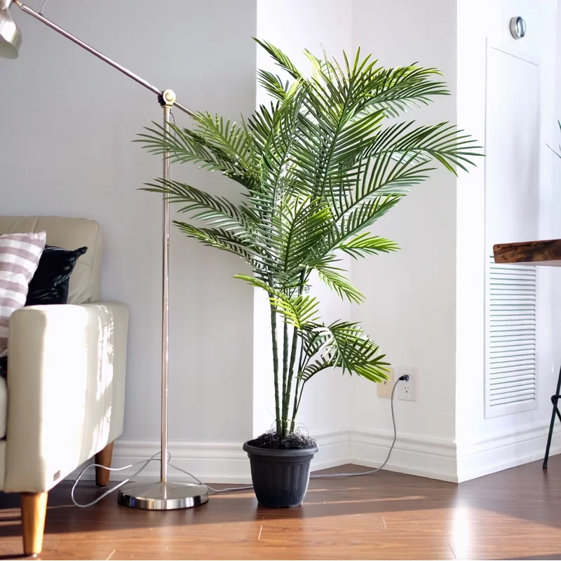 Bay Isle Home Areca Palm Tree In Pot Liner Reviews Wayfair Ca Potted Trees Areca Palm Faux Tree