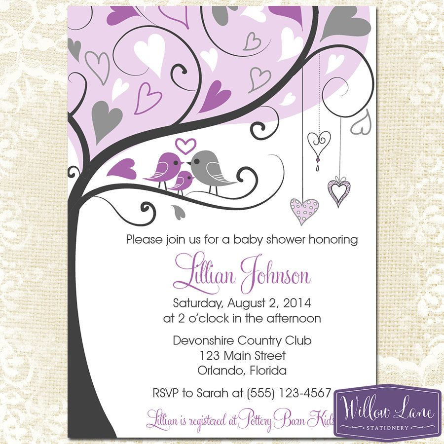 Purple Baby Shower Invitation - Love Birds and Baby Bird Baby Shower ...