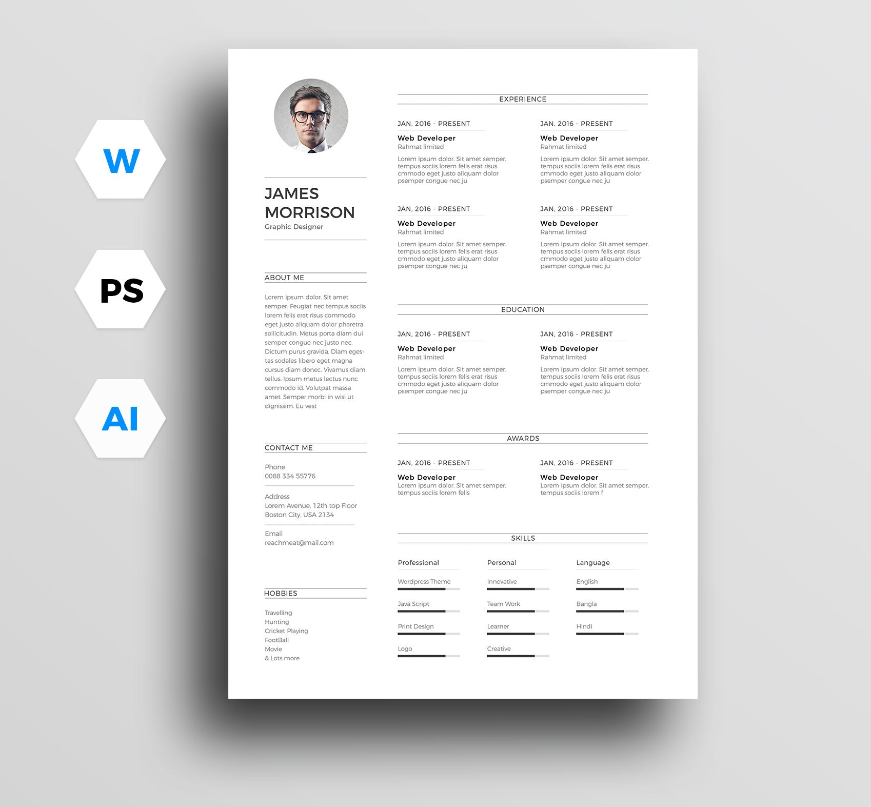 """Check Out My @Behance Project: """"Free Minimal Resume"""