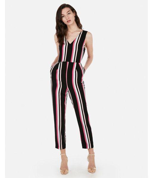 f5536d4c420 Petite Striped V-Neck Jumpsuit Stripe Women s XXS Petite in 2019 ...