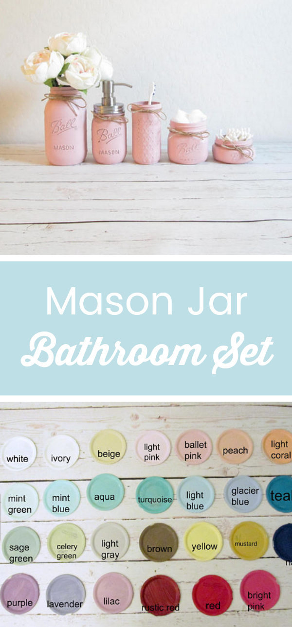 Sweet Mason Jar Bathroom Set: Flower Vase, Soap Dispenser, Toothbrush  Holder, Cotton