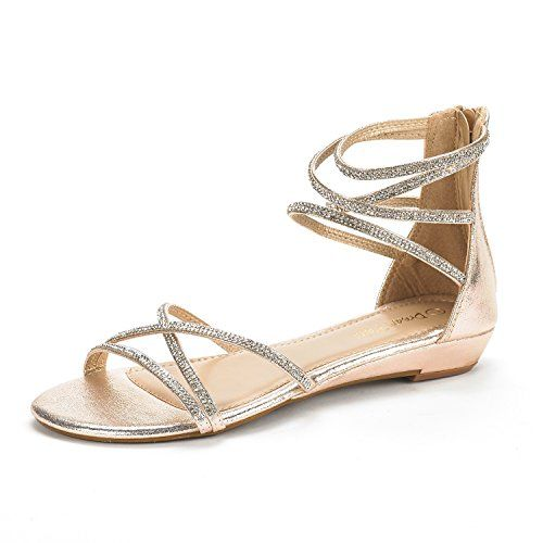 c0829187352a DREAM PAIRS WEITZ New Women Open Toe Fashion Rhinestones Crisscross Valcre  Ankle Straps Summer Design Flat Sandals GOLD SIZE 6    Click image for more  ...