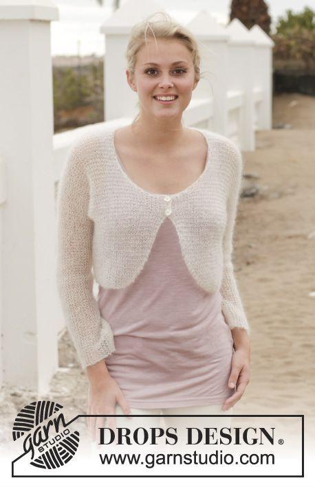 """Knitted DROPS bolero in garter st in """"Kid-Silk"""". Size: S - XXXL ..."""
