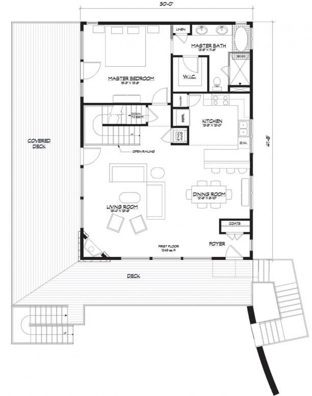 House Plan 5738 00002 Floor plan Lakefront Plan with unfinished