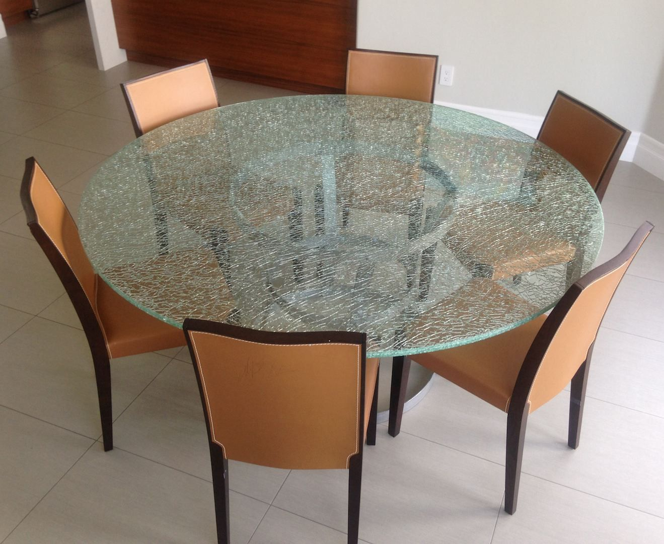 Round Crackle Glass Dining Table With Tripod Metal Base Glass Round Dining Table Glass Dining Room Table Glass Top Dining Table [ 1080 x 1319 Pixel ]