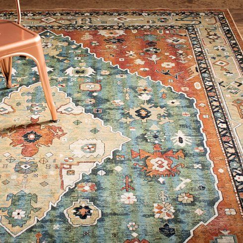 The Sonoma Aqua Celadon Rust And Tan Area Rug Is Machine Woven From Silky Viscose Yarns Featuring The Look And Feel Of Real Si Area Rugs Colorful Rugs Rugs