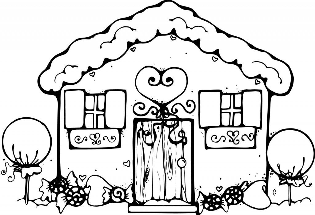 Gingerbread House Page Coloring Sheets