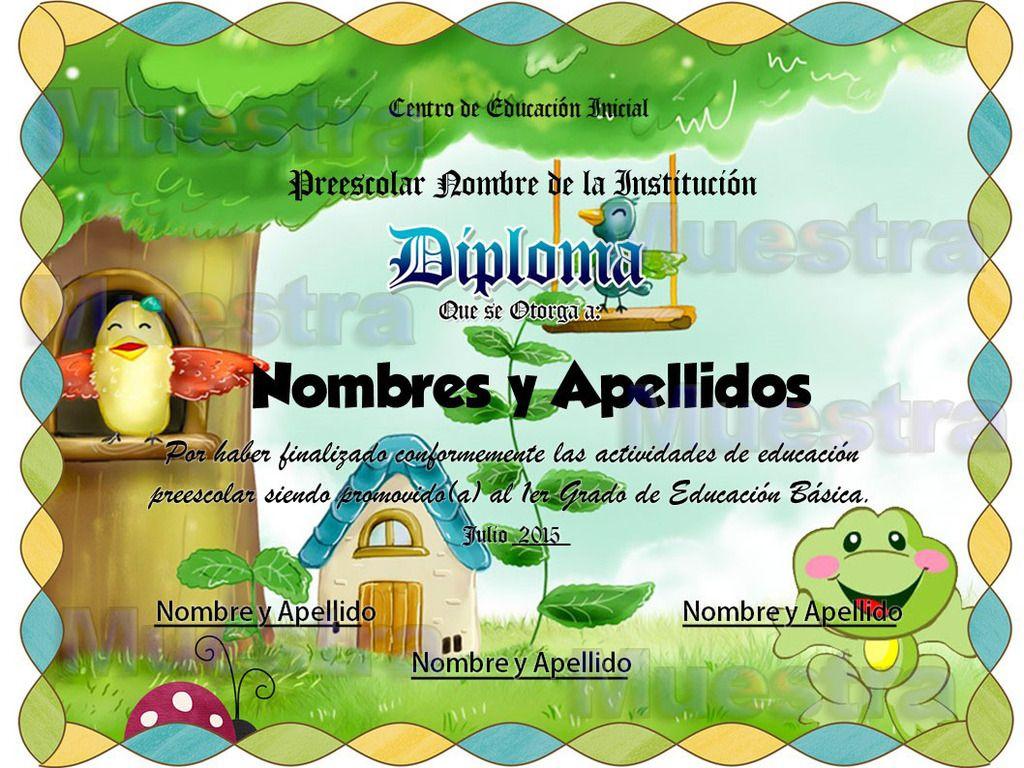 10 Plantillas Editables Para Diplomas Infantiles Preescolar. - $ 50 ...