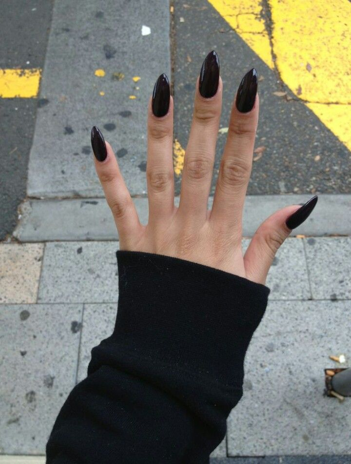 Dark Red Almond Shape Acrylic Nails Trendy Nails Nails Tumblr Black Nails