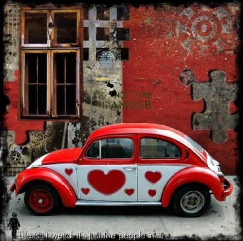VW Bug Red White Hearts Outdoors Cool Wall Patterns Too - Cool wall cars